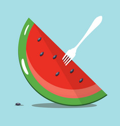 melon slice with white fork on blue background vector image vector image