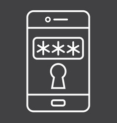 Mobile security line icon security smartphone vector