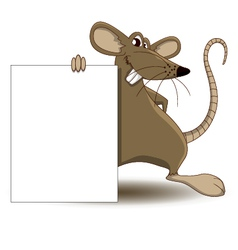 mouse cartoon with blank sign vector image vector image