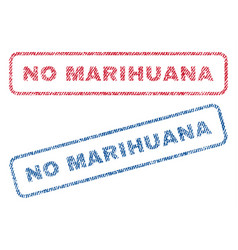 No marihuana textile stamps vector