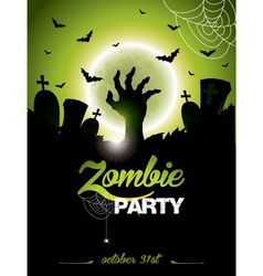 On a halloween zombie party vector