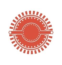 Red circular art deco emblem vector