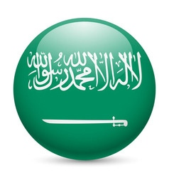 Round glossy icon of saudi arabia vector image vector image