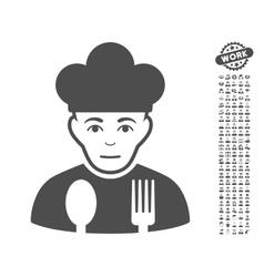 Sad Cook Icon With Bonus vector image