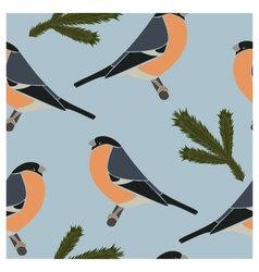 Seamless pattern bullfinch blue vector