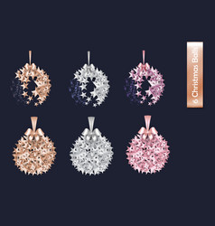 set of rose gold gold silver christmas ball made vector image vector image