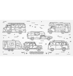Set of Tourist bus SUV trailer jeep RV camper vector image