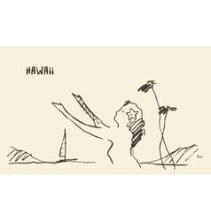 Sketch hawaiian girl drawn vector