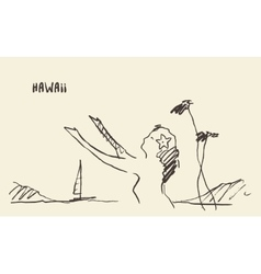 Sketch Hawaiian girl drawn vector image vector image