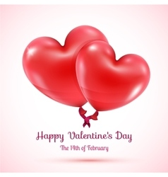 Two red balloons hearts linked vector image vector image