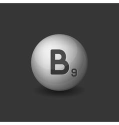 Vitamin b9 silver glossy sphere icon on dark vector