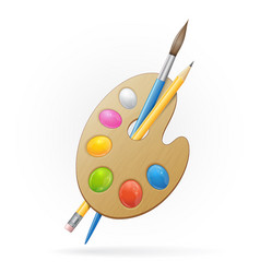 Wooden artist palette yellow pensil and blue vector