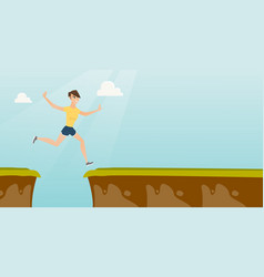 young caucasian sportswoman jumping over the cliff vector image vector image