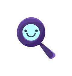Magnifying glass primitive icon with smiley face vector