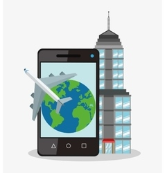 Smartphone planet and airplane design vector