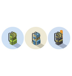 Set of isometric camping backpack vector