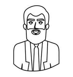 Monochrome contour half body of man with beard and vector