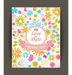 Beautiful vintage flowers invitation vector