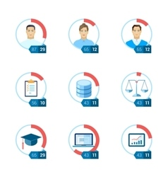 Office infographic flat icon set vector