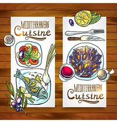 Vertical banners mediterranean cuisine one wood vector