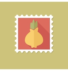 Onion flat stamp with long shadow vector