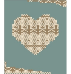 Knitted heart card vector image