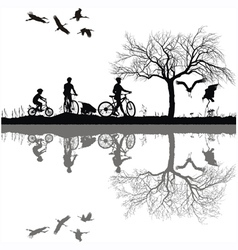 Family cycling on the edge of the lake vector