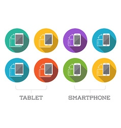 Colorful rotate round flat smartphone or cellular vector