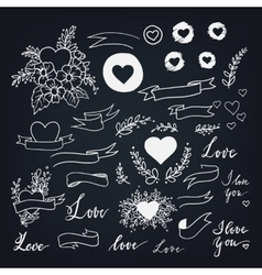 Set of decorative design elements for love theme vector