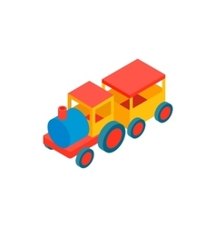 Train in amusement park isometric 3d icon vector