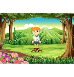 A little man at the forest vector image vector image