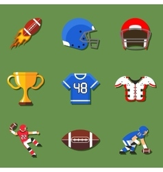 American football flat icons set vector