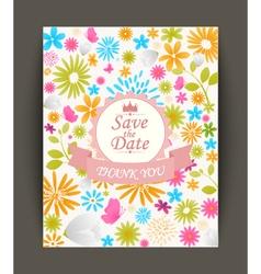 Beautiful vintage flowers invitation vector