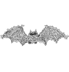 Black bat doodle vector