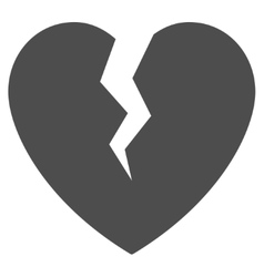 Broken heart flat icon vector