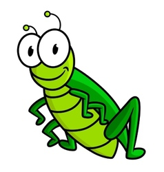 Cartoon funny green grasshopper character vector image vector image