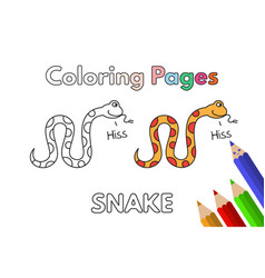 Cartoon snake coloring book vector