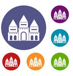 children house castle icons set vector image