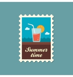 Cocktail flat stamp summertime vector