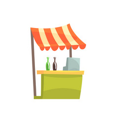 Food stall with drinks fixed market stall for vector
