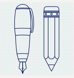 fountain pen and pencil outline icon vector image vector image