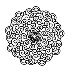 Hand drawn curl Mandala isolated on white vector image vector image