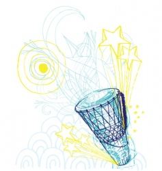 hand drawn hand drum vector image vector image