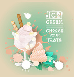 ice cream logo sweet beautiful summer dessert vector image