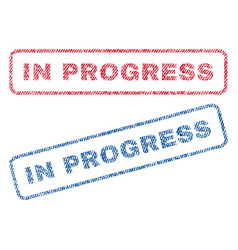 in progress textile stamps vector image vector image