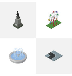 isometric architecture set of park decoration vector image vector image