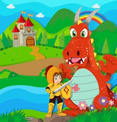 Knight and dragon by the river vector