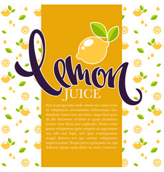 lemon juice background for your label flyer or vector image vector image