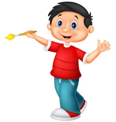 Little boy holding brush vector image vector image