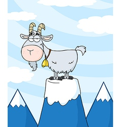 Longhorn on top of a mountain peak vector